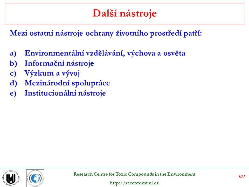 105 Research Centre for Toxic Compounds in the Environment http://recetox.muni.cz V současné době jsou poplatky za znečišťování ovzduší stanoveny zákonem č.