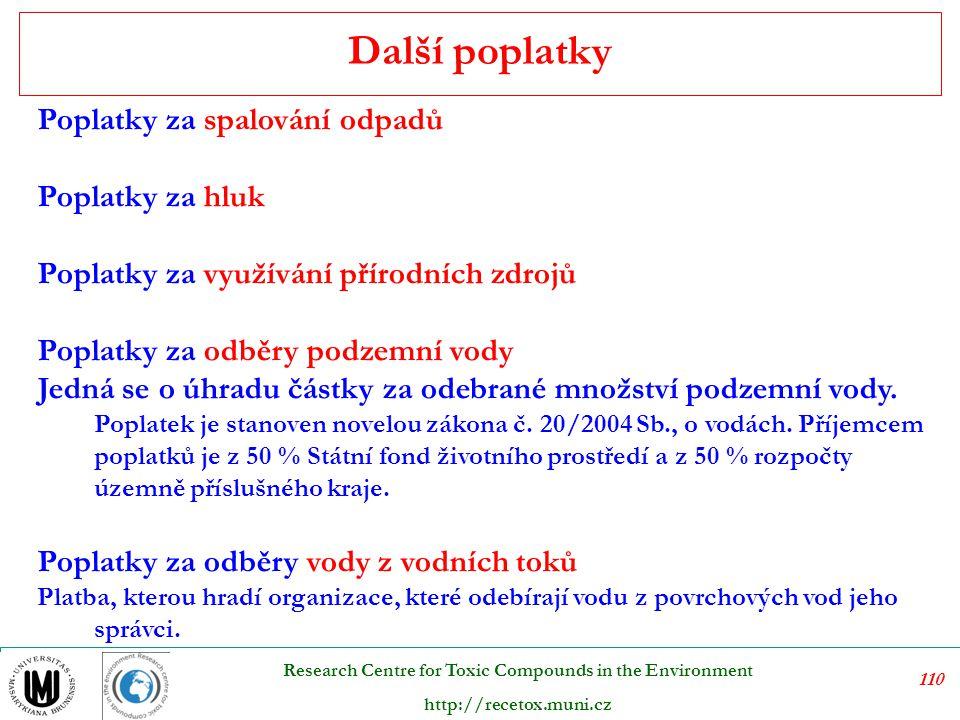 111 Research Centre for Toxic Compounds in the Environment http://recetox.muni.cz Úhrady jsou stanoveny zákonem č.