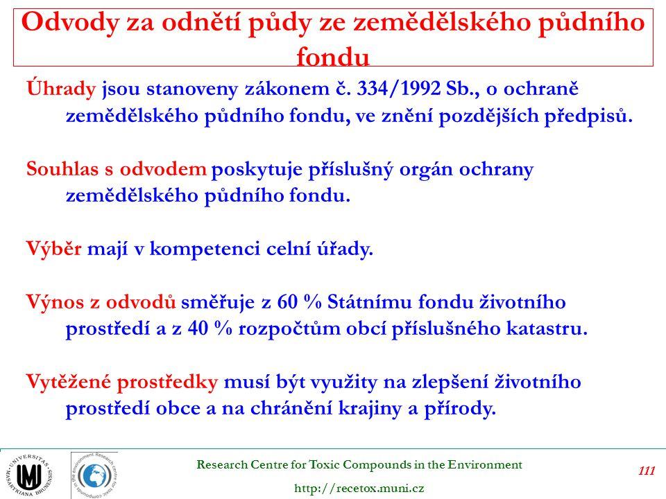 112 Research Centre for Toxic Compounds in the Environment http://recetox.muni.cz Tyto poplatky jsou stanoveny v zákoně č.