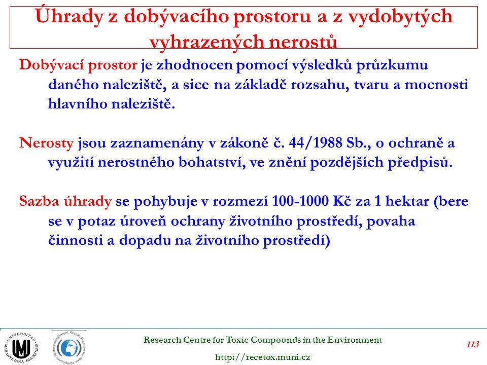 114 Research Centre for Toxic Compounds in the Environment http://recetox.muni.cz Ochrana dřeviny před jejich poškozením je upravena zákonem č.