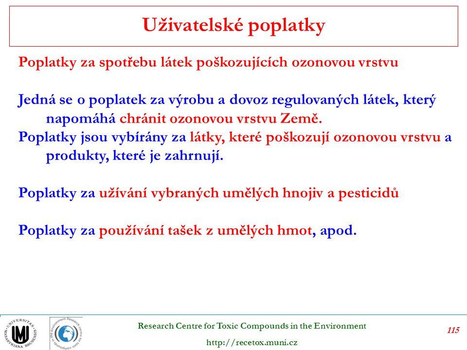 116 Research Centre for Toxic Compounds in the Environment http://recetox.muni.cz Na základě daňové statistiky OECD jsou za ekologické daně v České republice považovány veškeré poplatky k ochraně ŽP.