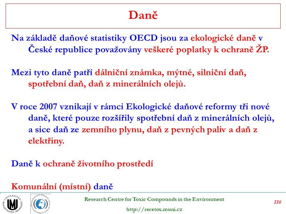 117 Research Centre for Toxic Compounds in the Environment http://recetox.muni.cz Sankční platby jsou použity, pokud někdo nedodržuje zákony na ochranu životního prostředí.