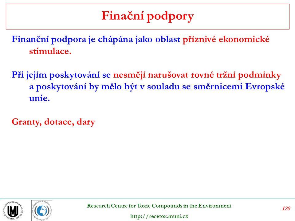 121 Research Centre for Toxic Compounds in the Environment http://recetox.muni.cz Dotace v rámci finanční podpory jsou chápány jako nástroje využívající veřejné výdaje a jsou významným prvkem Státní politiky životního prostředí ve vyspělých zemích.