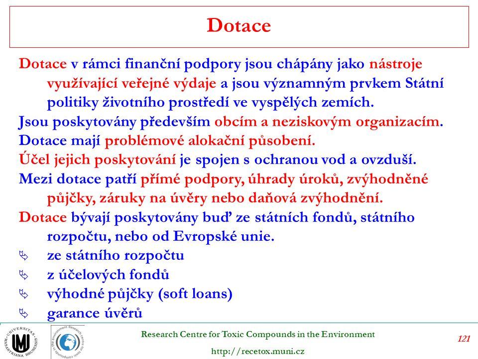 122 Research Centre for Toxic Compounds in the Environment http://recetox.muni.cz Úlevy v placení poplatků ostatní úlevy
