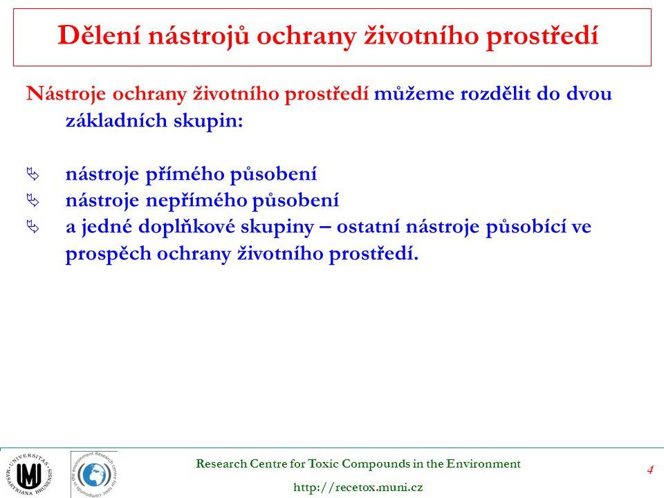 5 Research Centre for Toxic Compounds in the Environment http://recetox.muni.cz Jak již vyplývá z názvu této skupiny nástrojů, zavazují nástroje přímého působení své adresáty přímo k určitému požadovanému chování.