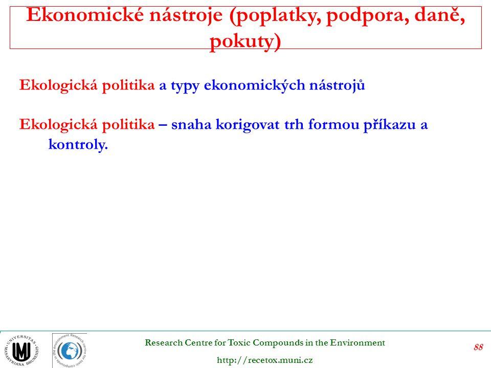 89 Research Centre for Toxic Compounds in the Environment http://recetox.muni.cz Současné politiky životního prostředí vyspělých zemí disponují širokým rejstříkem ekonomických nástrojů.