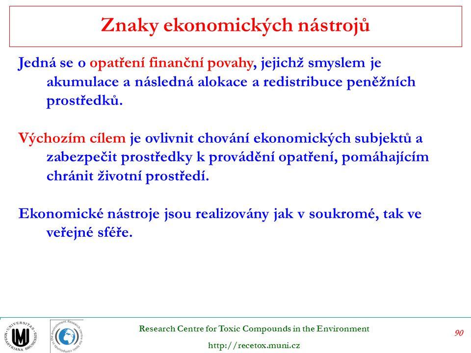 91 Research Centre for Toxic Compounds in the Environment http://recetox.muni.cz Ekonomické nástroje plní mnoho funkcí.