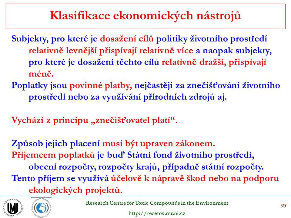 94 Research Centre for Toxic Compounds in the Environment http://recetox.muni.cz Vlastní ekonomické nástroje:  daně obecné i účelově vázané  poplatky  sankce  dotace  obchodovatelná povolení Jak je z výčtu zřejmé, sankce, jež jsou často chápány jako jediný ekonomický nástroj, je pouze jedním z prostředků, jimiž může státní správa vstupovat do jednání k environmentální dohodě.