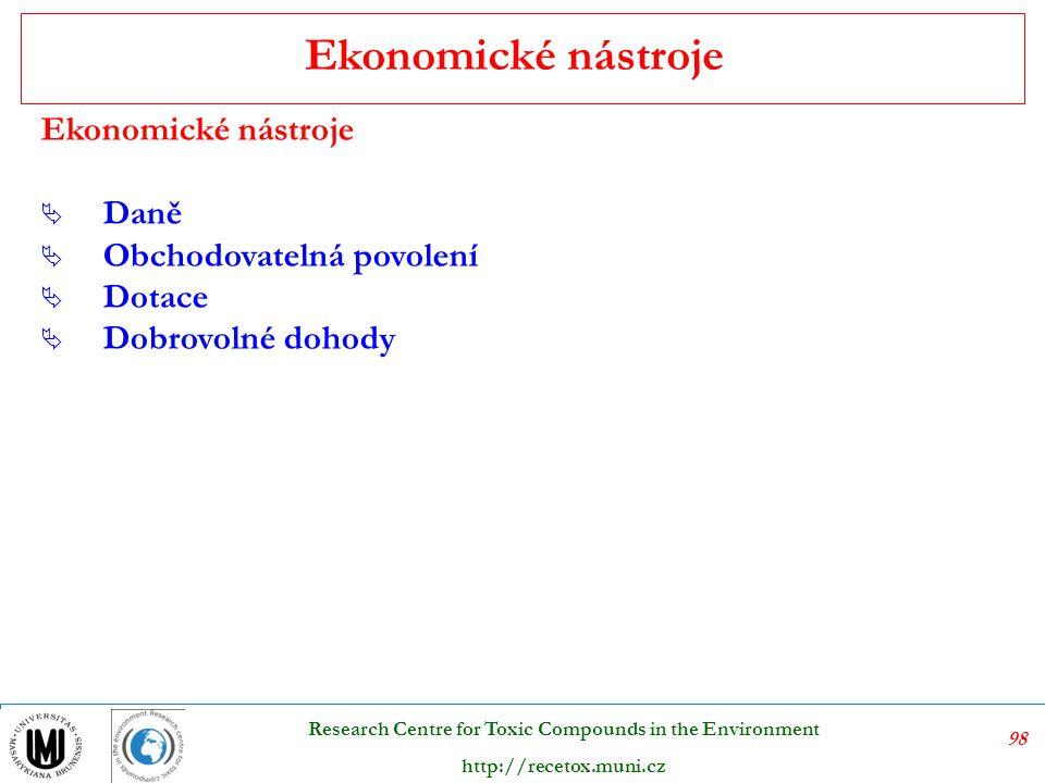 99 Research Centre for Toxic Compounds in the Environment http://recetox.muni.cz Ekologické normy a standardy, právě tak jako ekonomické nástroje na ochranu životního prostředí, se objevují jako korekce nedokonalé funkce trhů.
