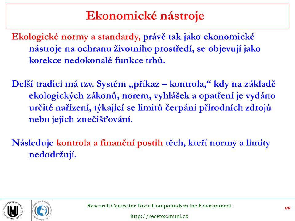 100 Research Centre for Toxic Compounds in the Environment http://recetox.muni.cz Dotace - nástroje pozitivní stimulace V případě dotačních titulů je důležitá motivace: Ekologická dotace by měla plnit několik funkcí 1.