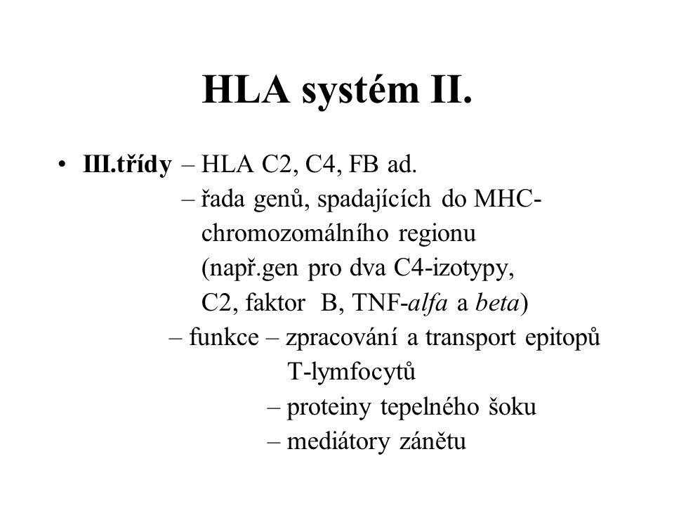 HLA systém II. III.třídy – HLA C2, C4, FB ad. – řada genů, spadajících do MHC- chromozomálního regionu (např.gen pro dva C4-izotypy, C2, faktor B, TNF