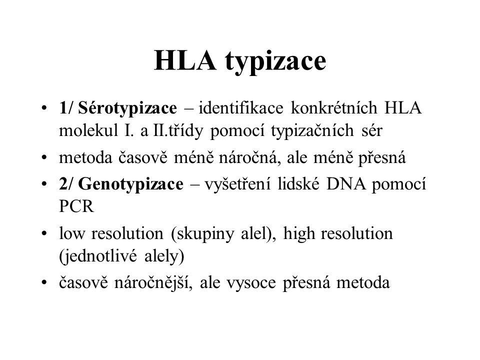 HLA typizace 1/ Sérotypizace – identifikace konkrétních HLA molekul I. a II.třídy pomocí typizačních sér metoda časově méně náročná, ale méně přesná 2