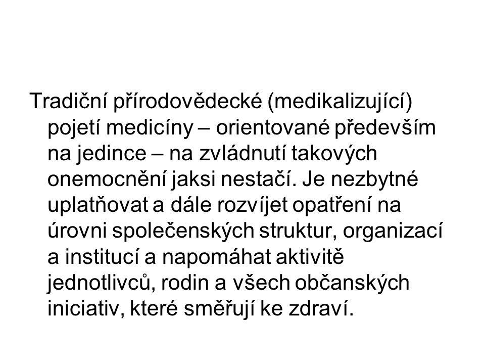Tradiční přírodovědecké (medikalizující) pojetí medicíny – orientované především na jedince – na zvládnutí takových onemocnění jaksi nestačí. Je nezby