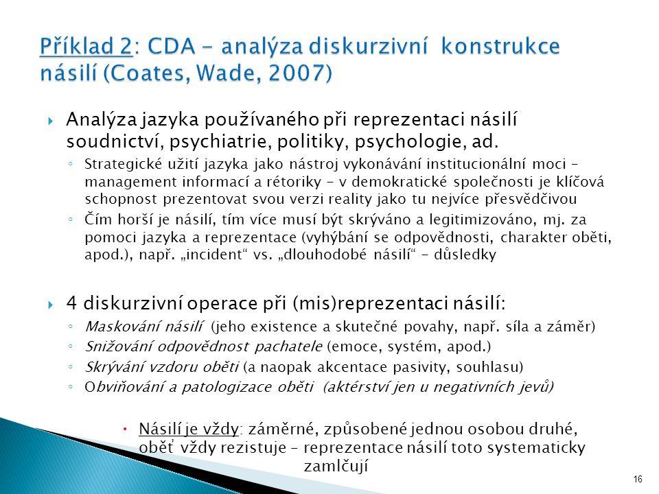  Analýza jazyka používaného při reprezentaci násilí soudnictví, psychiatrie, politiky, psychologie, ad.