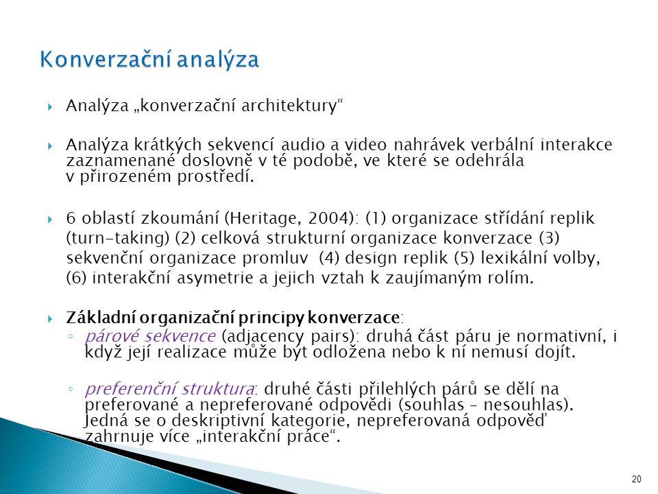 """20  Analýza """"konverzační architektury  Analýza krátkých sekvencí audio a video nahrávek verbální interakce zaznamenané doslovně v té podobě, ve které se odehrála v přirozeném prostředí."""