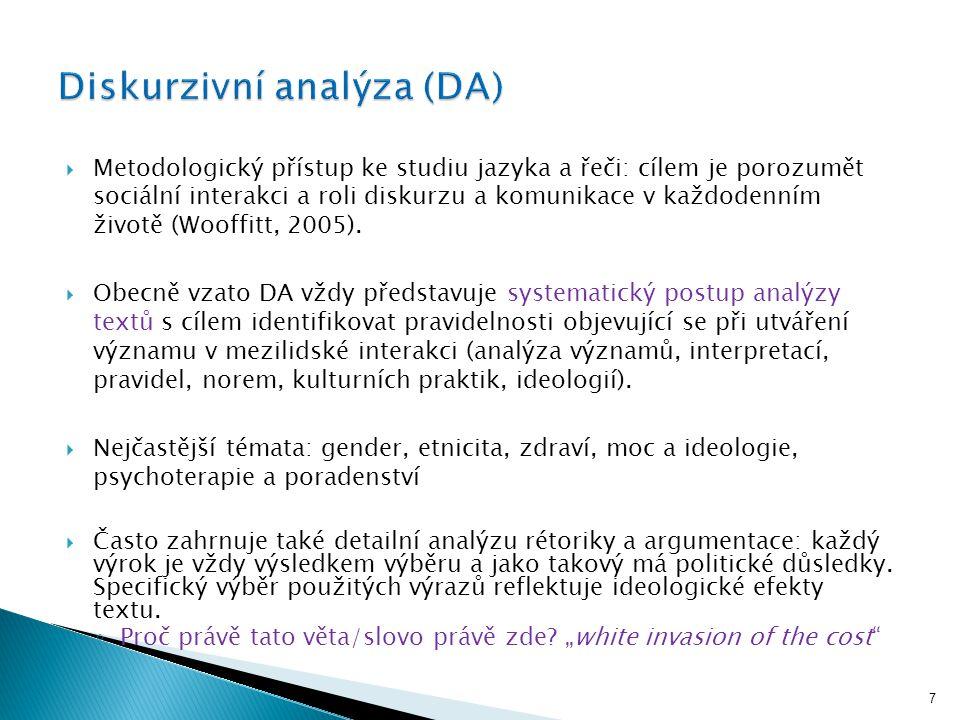 """Analýza """"textů  Text = řeč (konverzace v přirozeném prostředí, konverzace v institucích, verbální interakce), psané texty, vizuální zobrazení → veškeré akty a objekty nesoucí (a současně utvářejí) specifický význam Diskurzivní analýza: identifikace vzorců a pravidelností (patterns) v textech."""