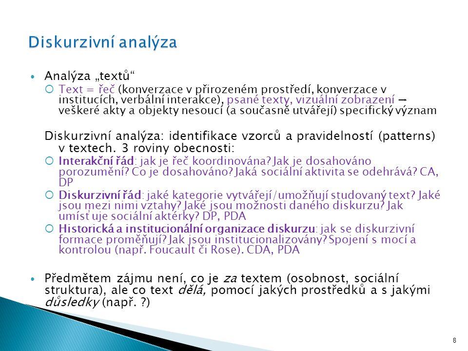 """Analýza """"textů""""  Text = řeč (konverzace v přirozeném prostředí, konverzace v institucích, verbální interakce), psané texty, vizuální zobrazení → vešk"""