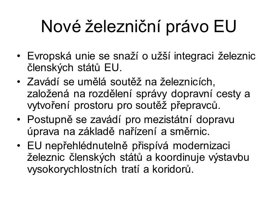 Nové železniční právo EU Evropská unie se snaží o užší integraci železnic členských států EU.