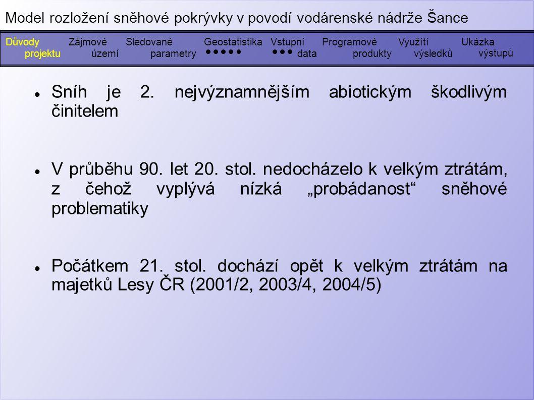 Měření výše uvedených parametrů – březen, duben 2006 (100 hodnot) – 2 měření v březnu 2007 (110 hodnot) Vrstevnice (ZABAGED) Data z dlouhodobého měření výšky sněhu (ČHMÚ) DůvodyZájmovéGeostatistikaSledovanéVstupníProgramovéUkázka výstupů Model rozložení sněhové pokrývky v povodí vodárenské nádrže Šance Využítí projektuúzemíparametrydatavýsledkůprodukty