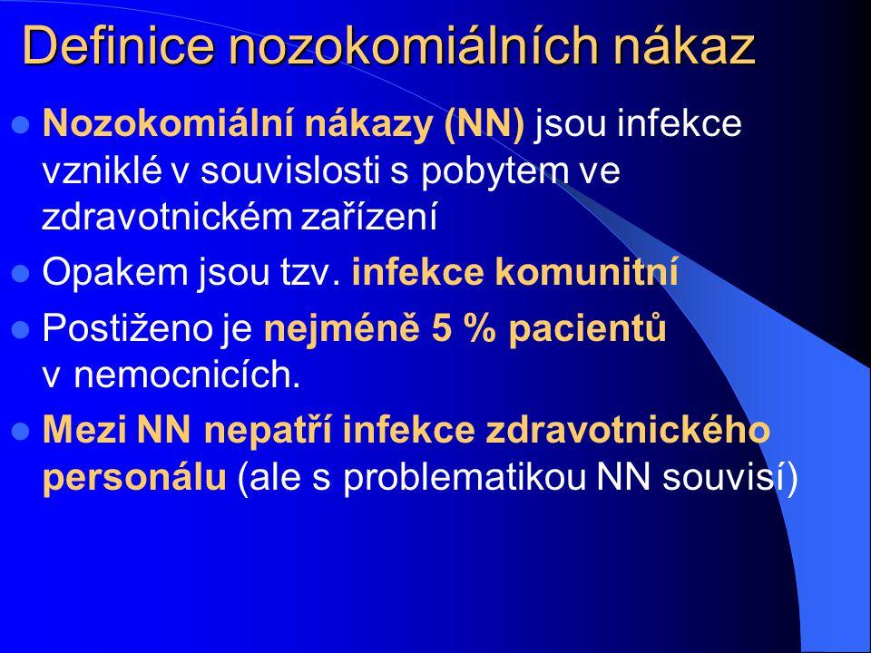 Definice nozokomiálních nákaz Nozokomiální nákazy (NN) jsou infekce vzniklé v souvislosti s.pobytem ve zdravotnickém zařízení Opakem jsou tzv. infekce