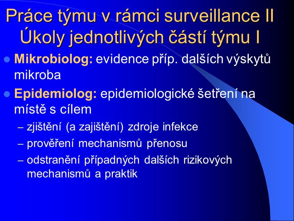 Práce týmu v rámci surveillance II Úkoly jednotlivých částí týmu I Mikrobiolog: evidence příp. dalších výskytů mikroba Epidemiolog: epidemiologické še