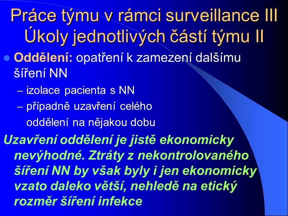 Práce týmu v rámci surveillance III Úkoly jednotlivých částí týmu II Oddělení: opatření k zamezení dalšímu šíření NN – izolace pacienta s NN – případn