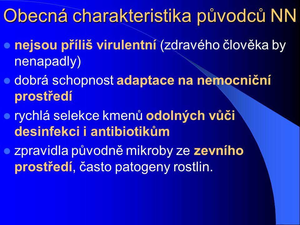 Obecná charakteristika původců NN nejsou příliš virulentní (zdravého člověka by nenapadly) dobrá schopnost adaptace na nemocniční prostředí rychlá sel