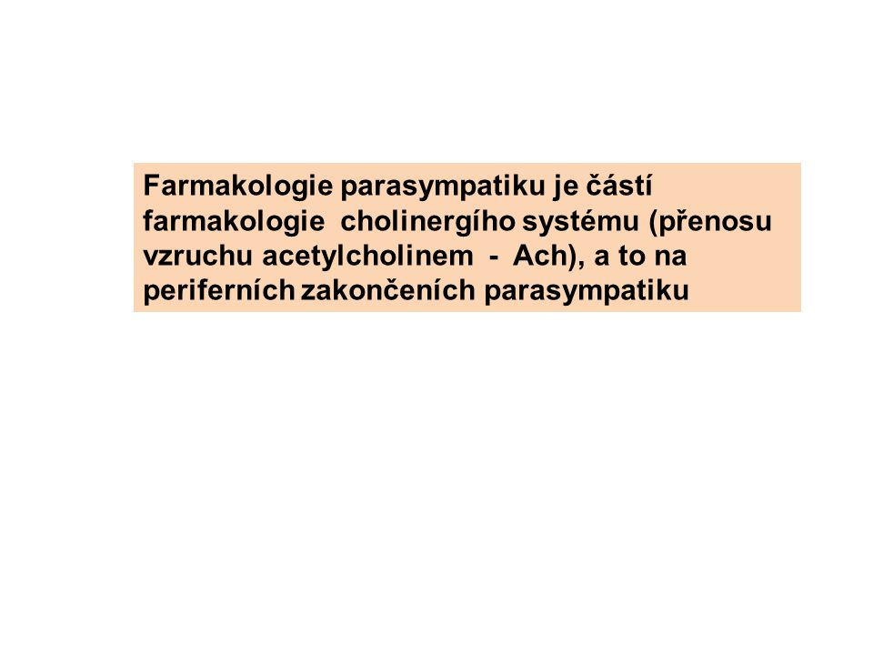 Farmakologie parasympatiku je částí farmakologie cholinergího systému (přenosu vzruchu acetylcholinem - Ach), a to na periferních zakončeních parasympatiku