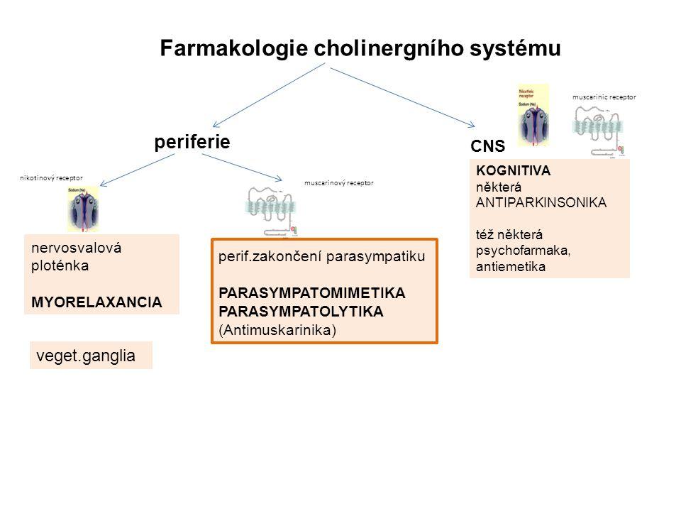 Farmakologie cholinergního systému periferie KOGNITIVA některá ANTIPARKINSONIKA též některá psychofarmaka, antiemetika nervosvalová ploténka MYORELAXANCIA veget.ganglia perif.zakončení parasympatiku PARASYMPATOMIMETIKA PARASYMPATOLYTIKA (Antimuskarinika) nikotinový receptor muscarinic receptor CNS muscarinový receptor