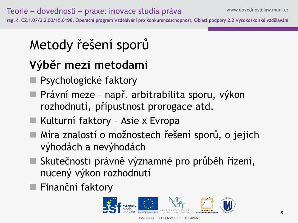 Metody řešení sporů Výběr mezi metodami Psychologické faktory Právní meze – např.