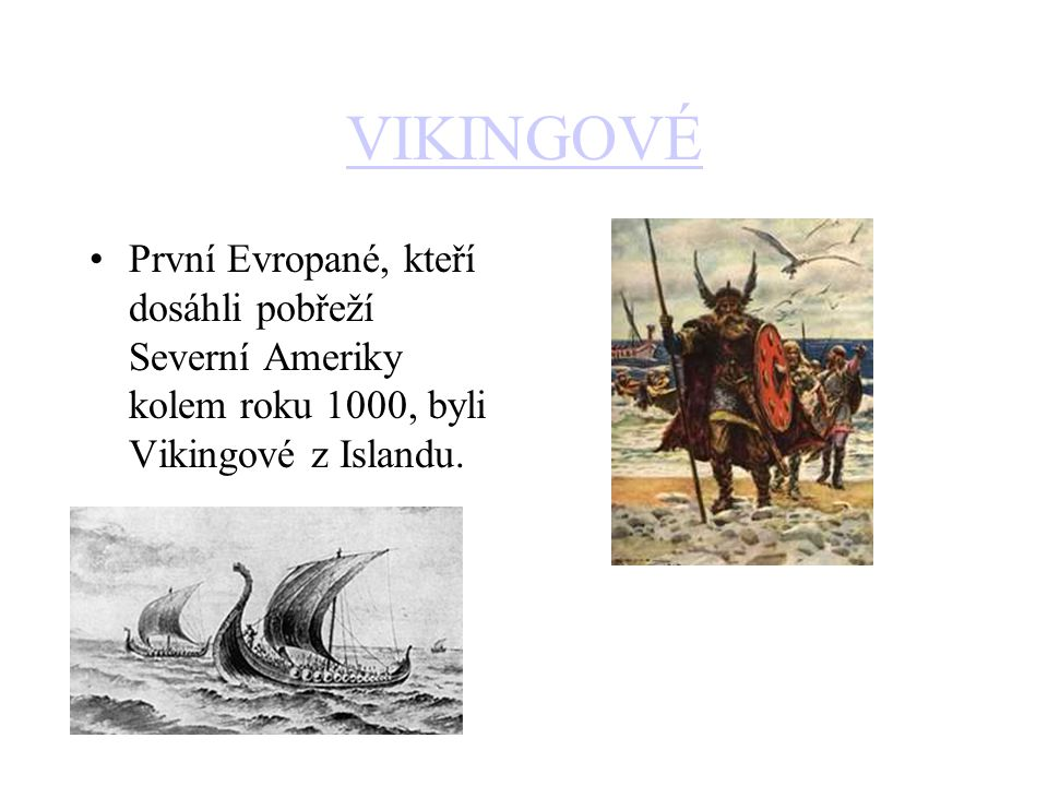 VIKINGOVÉ První Evropané, kteří dosáhli pobřeží Severní Ameriky kolem roku 1000, byli Vikingové z Islandu.