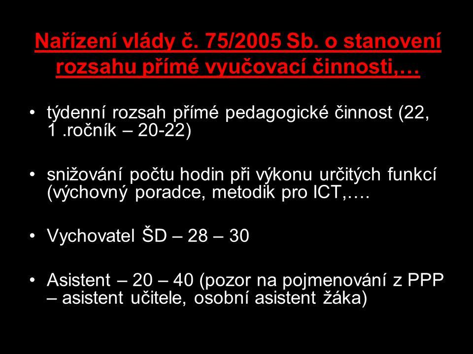 Nařízení vlády č. 75/2005 Sb. o stanovení rozsahu přímé vyučovací činnosti,… týdenní rozsah přímé pedagogické činnost (22, 1.ročník – 20-22) snižování