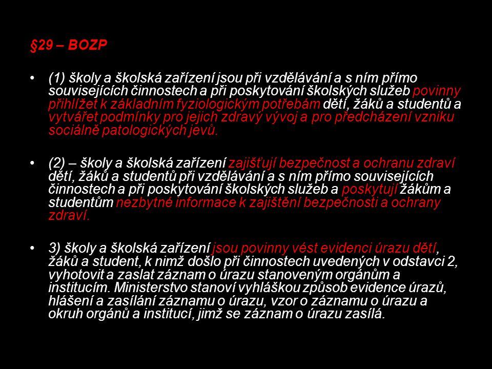 §29 – BOZP (1) školy a školská zařízení jsou při vzdělávání a s ním přímo souvisejících činnostech a při poskytování školských služeb povinny přihlíže
