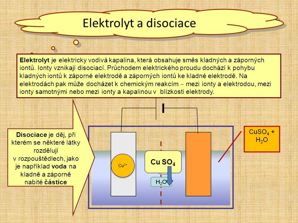 Elektrolyt a disociace Elektrolyt je elektricky vodivá kapalina, která obsahuje směs kladných a záporných iontů. Ionty vznikají disociací. Průchodem e
