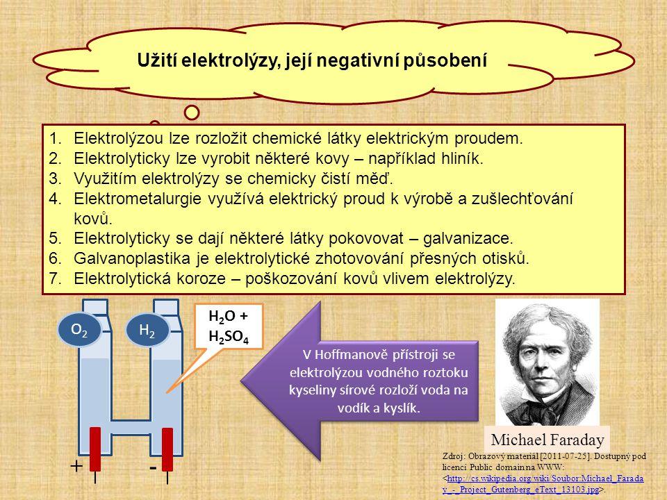 Užití elektrolýzy, její negativní působení 1.Elektrolýzou lze rozložit chemické látky elektrickým proudem. 2.Elektrolyticky lze vyrobit některé kovy –