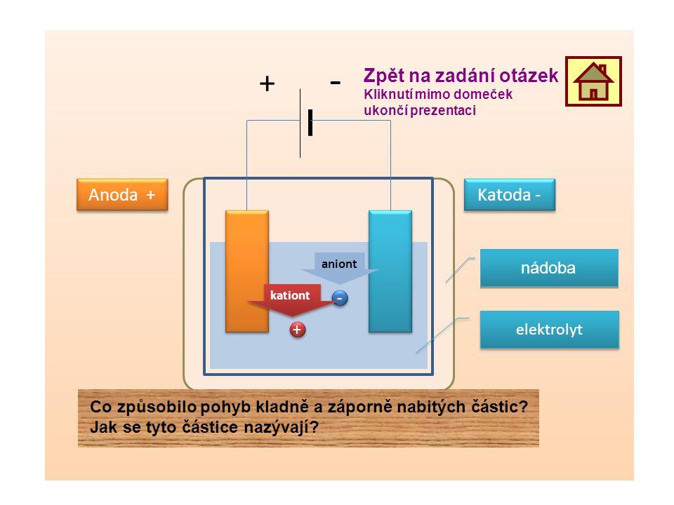 elektrolyt Anoda + Katoda - + - + + - - aniont kationt nádoba Zpět na zadání otázek Kliknutí mimo domeček ukončí prezentaci Co způsobilo pohyb kladně