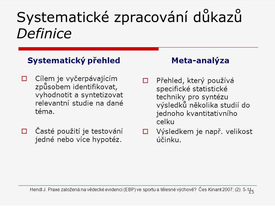 Systematické zpracování důkazů Definice Systematický přehled  Cílem je vyčerpávajícím způsobem identifikovat, vyhodnotit a syntetizovat relevantní st
