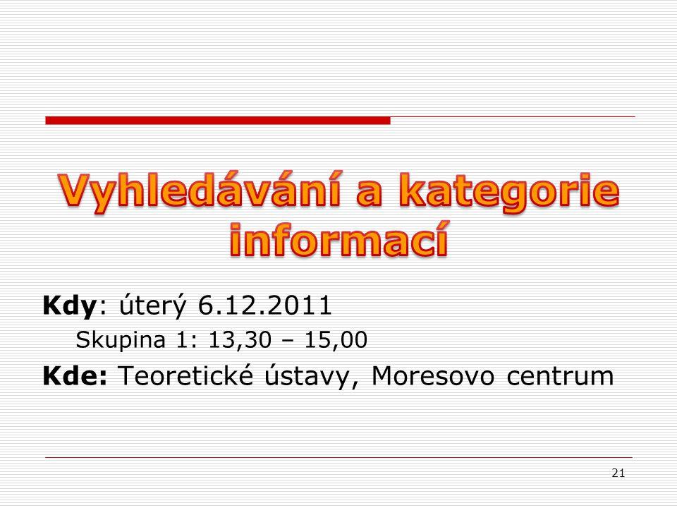 21 Kdy: úterý 6.12.2011 Skupina 1: 13,30 – 15,00 Kde: Teoretické ústavy, Moresovo centrum