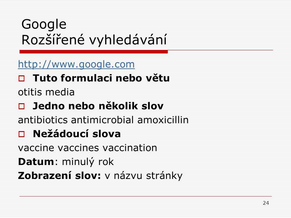 Google Rozšířené vyhledávání http://www.google.com  Tuto formulaci nebo větu otitis media  Jedno nebo několik slov antibiotics antimicrobial amoxici