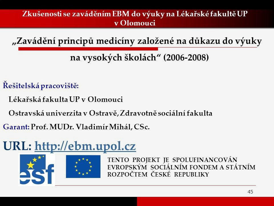 45 Zkušenosti se zaváděním EBM do výuky na Lékařské fakultě UP v Olomouci TENTO PROJEKT JE SPOLUFINANCOVÁN EVROPSKÝM SOCIÁLNÍM FONDEM A STÁTNÍM ROZPOČ
