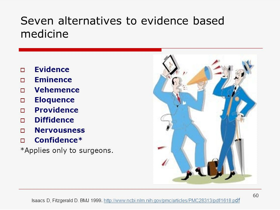 Seven alternatives to evidence based medicine  Evidence  Eminence  Vehemence  Eloquence  Providence  Diffidence  Nervousness  Confidence* *Applies only to surgeons.