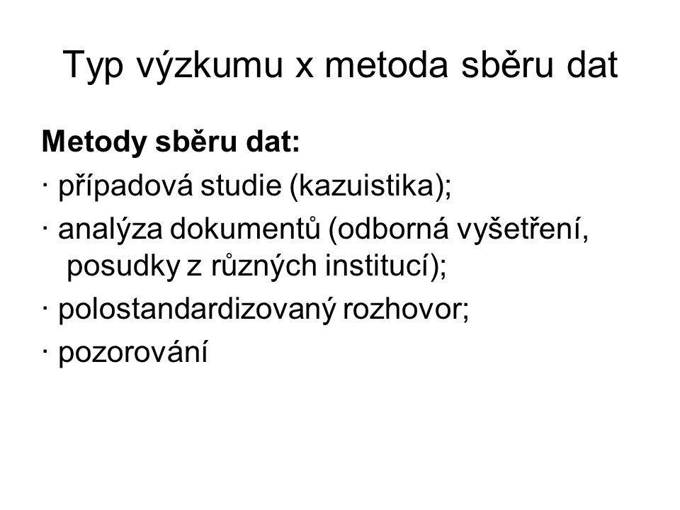 Typ výzkumu x metoda sběru dat Metody sběru dat: · případová studie (kazuistika); · analýza dokumentů (odborná vyšetření, posudky z různých institucí)