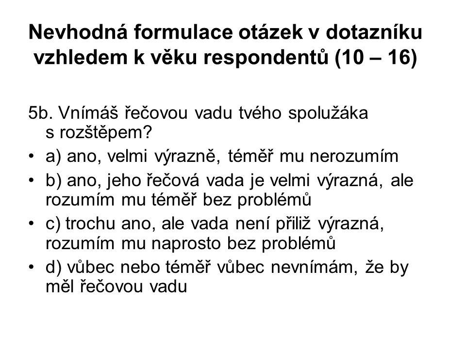 Nevhodná formulace otázek v dotazníku vzhledem k věku respondentů (10 – 16) 5b. Vnímáš řečovou vadu tvého spolužáka s rozštěpem? a) ano, velmi výrazně