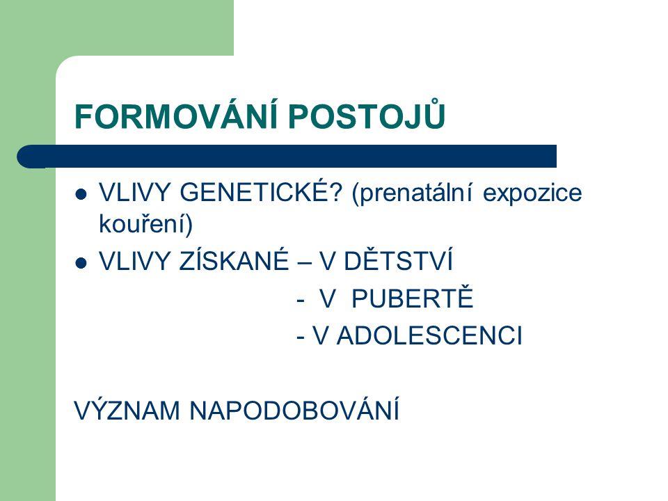 FORMOVÁNÍ POSTOJŮ VLIVY GENETICKÉ.