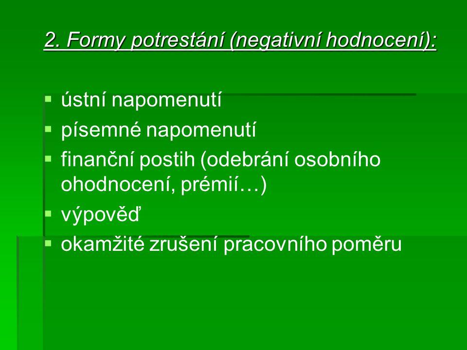 2. Formy potrestání (negativní hodnocení):   ústní napomenutí   písemné napomenutí   finanční postih (odebrání osobního ohodnocení, prémií…)  