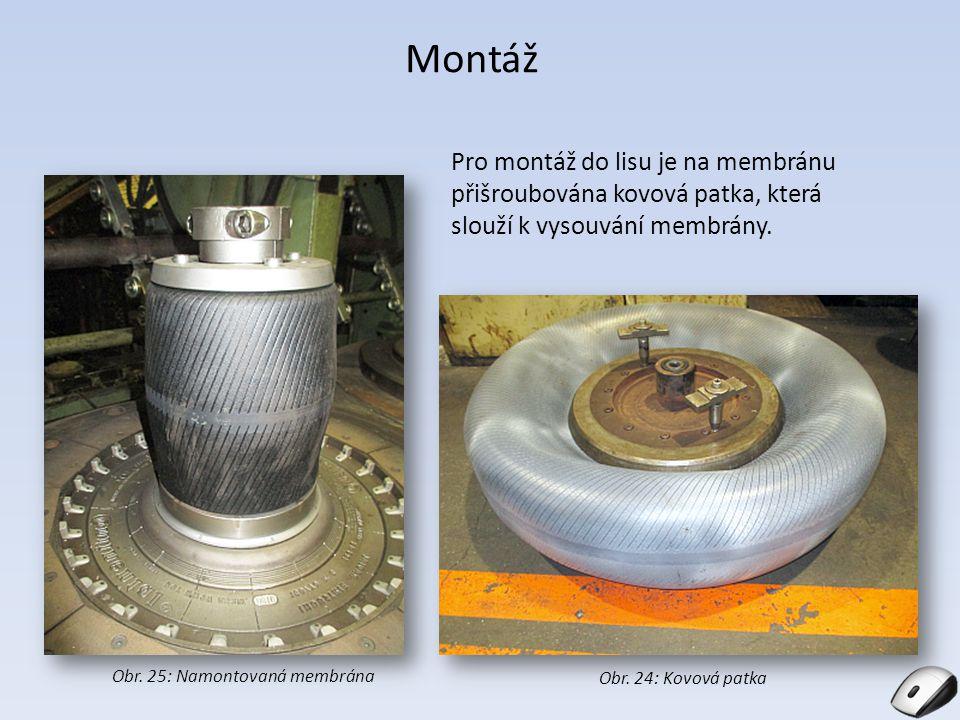 Montáž Pro montáž do lisu je na membránu přišroubována kovová patka, která slouží k vysouvání membrány. Obr. 25: Namontovaná membrána Obr. 24: Kovová