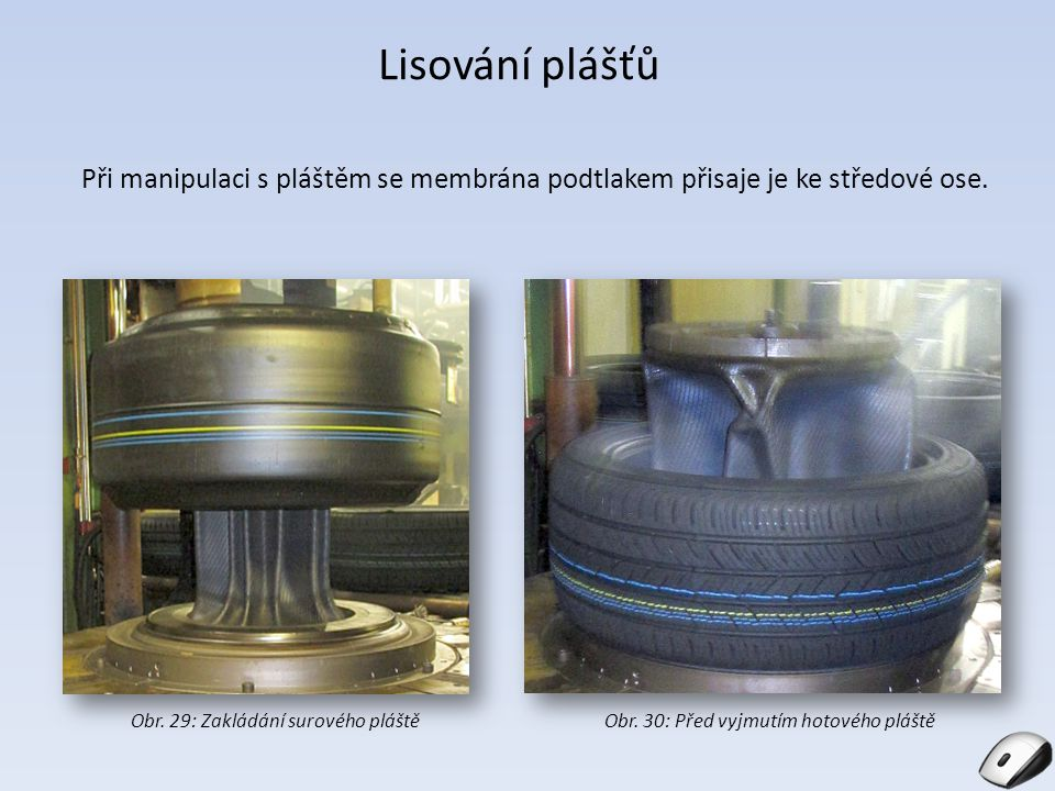 Lisování plášťů Při manipulaci s pláštěm se membrána podtlakem přisaje je ke středové ose. Obr. 29: Zakládání surového pláštěObr. 30: Před vyjmutím ho