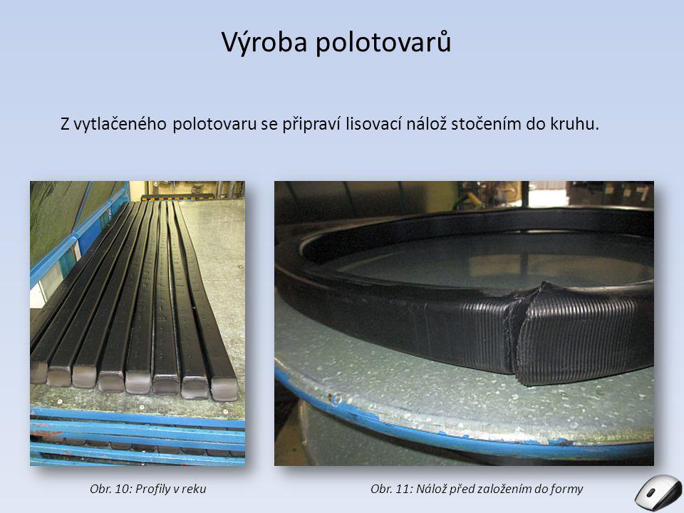 Výroba polotovarů Z vytlačeného polotovaru se připraví lisovací nálož stočením do kruhu. Obr. 11: Nálož před založením do formyObr. 10: Profily v reku