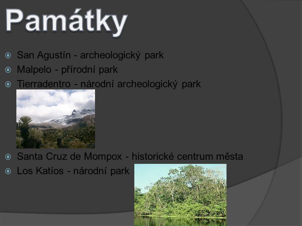  San Agustín - archeologický park  Malpelo - přírodní park  Tierradentro - národní archeologický park  Santa Cruz de Mompox - historické centrum m
