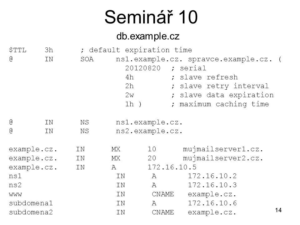 14 Seminář 10 14 logging { channel log { file /var/log/named.log ; }; zone example.cz IN { type master; file db.example.cz ; }; zone 10.16.172.in-addr.arpa IN { type master; file db.10.16.172.in-addr.arpa ; }; $TTL 3h ; default expiration time @ IN SOA ns1.example.cz.